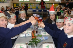 Year 6 at whole school Christmas lunch